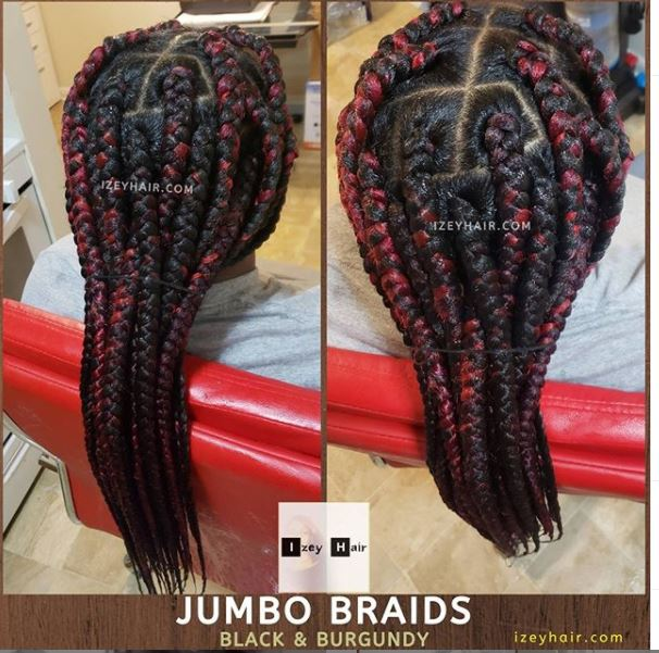 Big Jumbo Braids with Burgundy Highlights