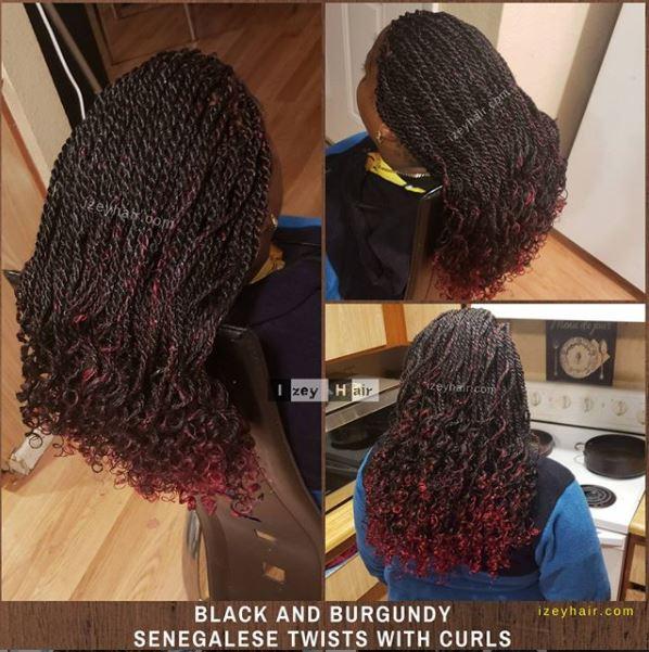 Black & Burgundy Senegalese Twists