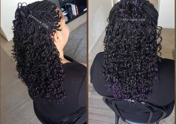 Black Curly Senegalese Twists with Dark Purple Highlights