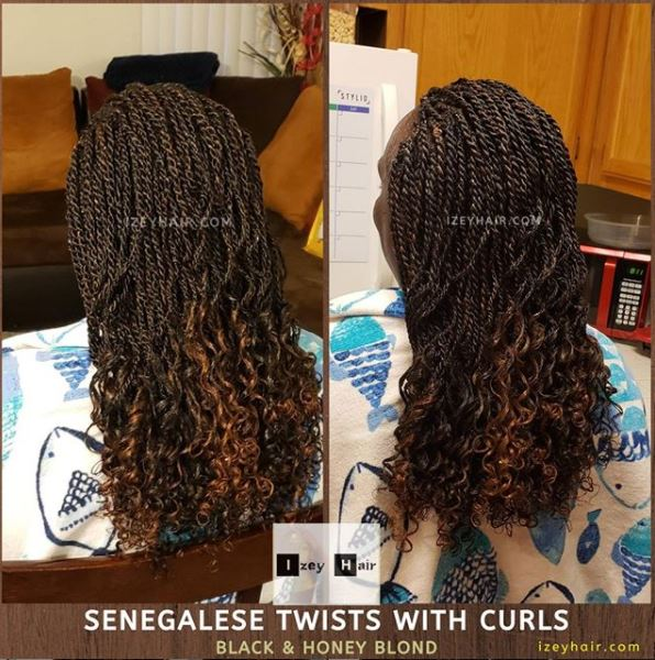 Senegalese Twists with curls - Brown and Honey Blond