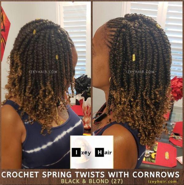 Crochet Braids - Spring Twists with Cornrows. 1B 27 (Las Vegas Braider)