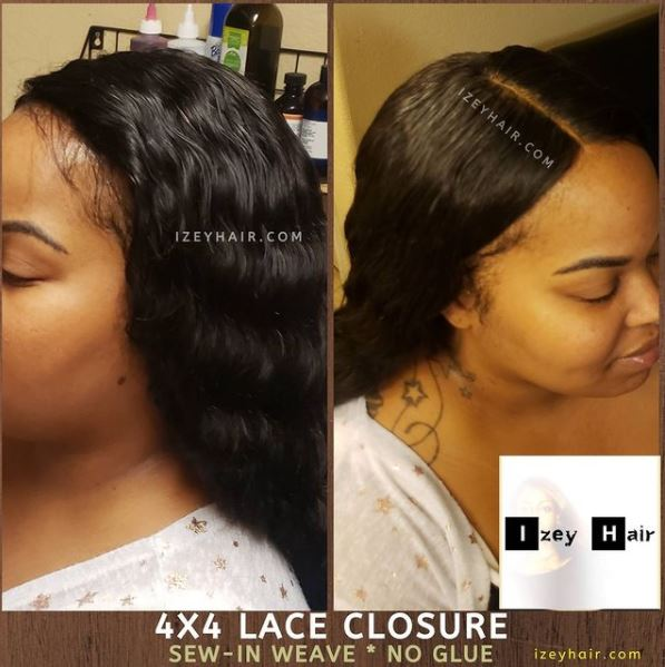 4x4 Lace Closure installed without glue