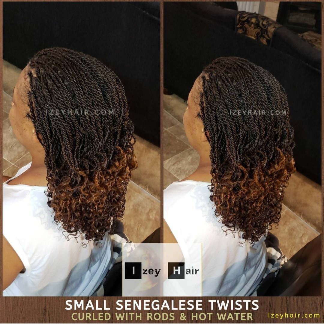 Small Senegalese Twists - Curled with Rods and Hot Water.